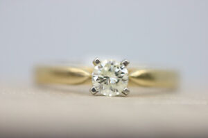 14k Yellow Gold Solitaire Diamond Engagement Ring (#18361)
