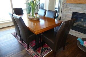Dining Room Table and 8 Leather Chairs