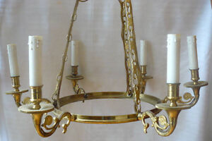 Vintage Reproduction Solid Cast Brass Chandelier