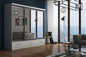 RUMBA 2 OR 3 Sliding Door German Wardrobe in White/Black/oak Colors Available -- cash on delivery