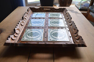VINTAGE/ANTIQUE WOOD & TILE SERVING TRAY Kingston Kingston Area image 2
