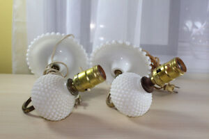 Hobnail milk glass wall sconces