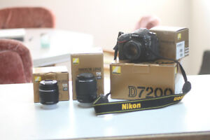NEW Nikon D7200 with 3 lenses and SD card