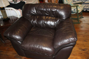 Brown soft leather comfortable chair