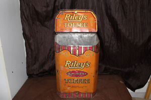 antique rileys rum butter toffee tin embossed
