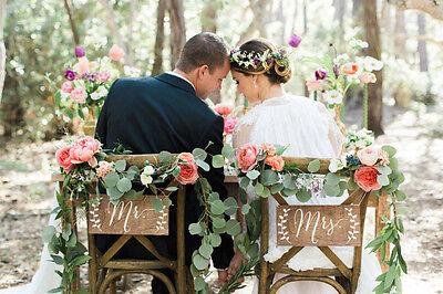 Personalizado Boda Silla Espalda Grande Cartel Colgante Mr&Mrs Rustic Madera x2