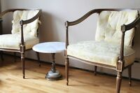 Antique upholstered chairs and marble table