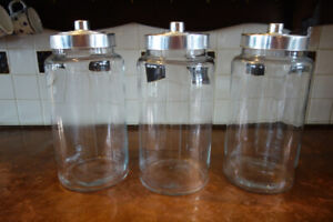 Giant glass masson jars / food storage (set of 3)