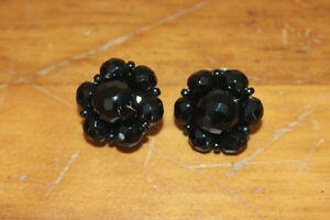 Pair of Vintage Black Bead Clip On Earrings