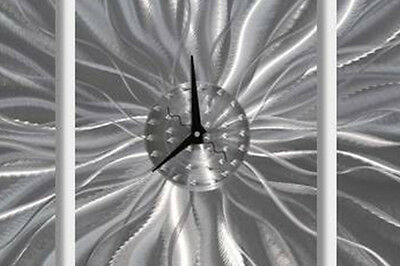 Abstract Modern Silver Metal Wall Clock Home Decor - Static Age by Jon Allen