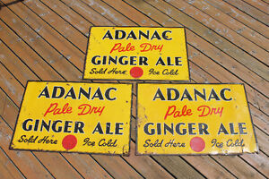 TWO 1940's Adanac Ginger Ale Signs London Ontario image 1