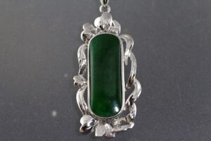 NEW SOLID STAMPED 18 K. WHITE GOLD A. JADE & DIAMOND PENDANT