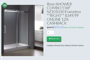 HOME IDOL 5' FRAMELESS SHOWER COMBO (GLASS+BASE)