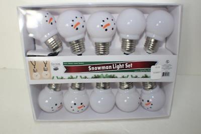 NEW Snowman Light Set 10 Hanging Bulbs Gerson indoor outdoor all connected