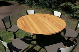 Patio Table (new) with 6 swivel seats