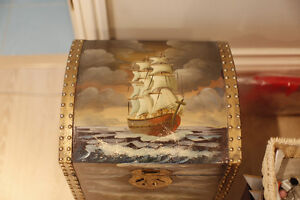 Antique Wooden Treasure Chest Painted with 3-Masted Sailing Ship
