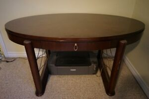 Oval desk, solid wood, and office chair, great condition!