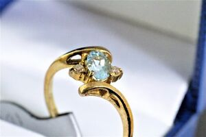NEW 14K. STAMPED AQUAMARINE & DIAMOND LADY'S RING FOR SALE