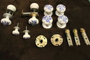 4 Sets of White With Blue Flower Ceramic Door Knobs Set