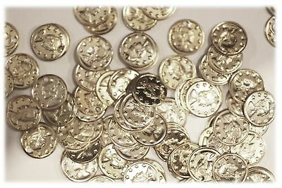 """Aluminum Jingle Coins Belly Dancing Jewelry Craft Costume 9mm ( 3/8"""" ) Silver"""