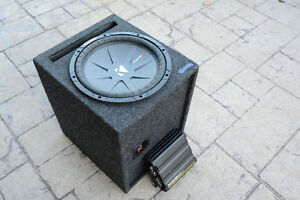 "Kicker 10"" Subwoofer w/ Vented Sub Box and 600W mono amp"