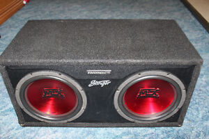 "Two 12"" MTX Thunder TC512 subwoofers complete with ported box."