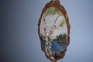 Nice Vintage Nature Painting On Wooden Slab