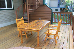Cedar outdoor dining table and pine chairs