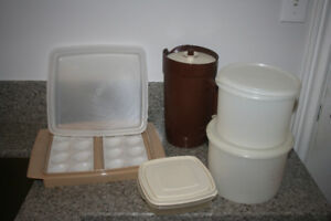 Assortment of Tupperware deviled egg container, juice container