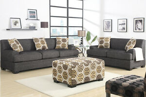 BRAND NEW!  Condo Sized Ash Black Fabric Sofa & Loveseat Set!
