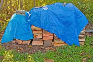 ** BLUE TARP FOR WOOD PILES- 20' x 20'  **