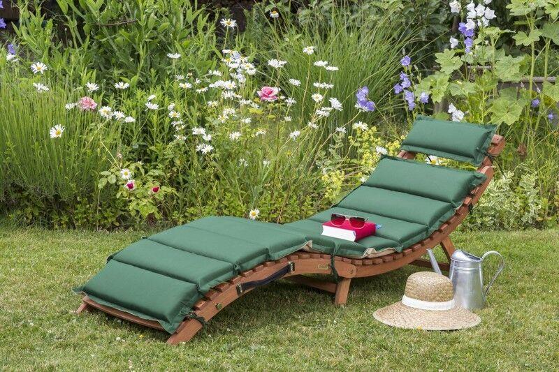 Sonnenliege Gartenliege Holzliege Relaxliege Merxx Ipanema Wendekissen grünbeige