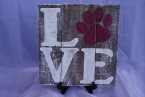 LOVE Dog sign, hand painted on reclaimed wood