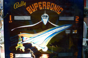 Bally Supersonic Pinball Game Backglass