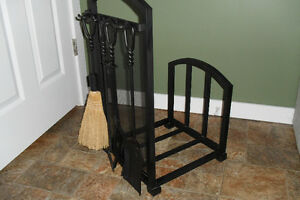 Fireplace / Woodstove  4pc tools and wood rack