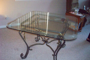 Glass top table, metal base and 6 dining chairs