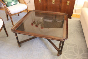 Square coffee table with caning and brass detail - $200 OBO