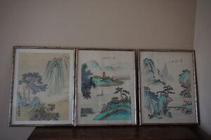 3 oriental chinese paintings on silk. Gatineau Ottawa / Gatineau Area image 1