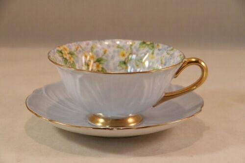 Vintage SHELLEY Light Blue PRIMROSE Chintz OLEANDER Tea CUP & SAUCER Bone China