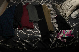 Women's small clothing lot and men's small dress shirts GUC