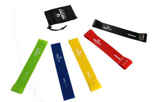Resistance Loop Exercise Bands- Set of 5, with Travel Bag