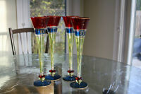 Distinctly colorful, large and unique set of 4 Champagne flutes