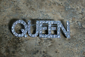 "Rhinestone Brooch/pin silver tone great condition ""Queen"" 3""Long"