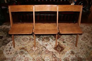 BEAUTIFUL ANTIQUE OAK CONNECTING CHAIRS - LOVELY