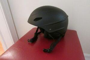 black ski helmet with built-in speakers