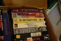 Box of about 40 VHS tapes.