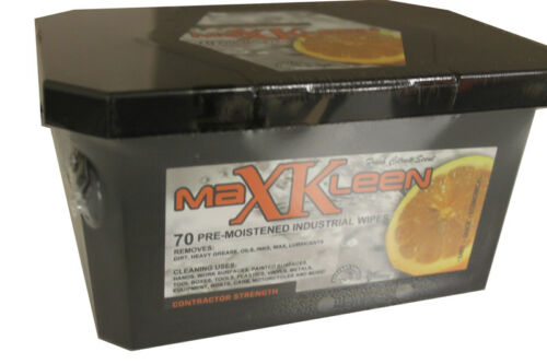 MaXKleen Contractor Strength Industrial Wipes Orange Cleaner 70 wipes