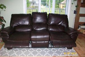 fauteuil 3 places avec causeuse inclinable en cuir