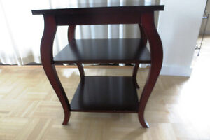 MOVING & MUST SELL - Wooden Square Side/End Table with Shelves