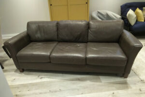 Furniture for sale.  IKEA desk & bar table.  Brown leather couch